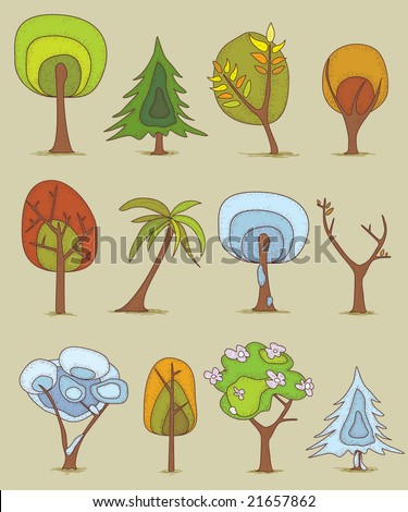 Trees in four seasons - stock vector
