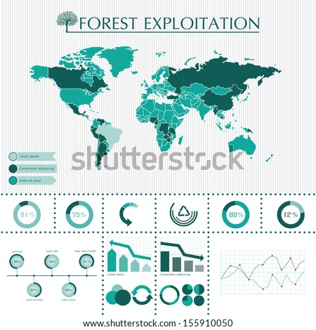 Trees info graphic system with world map, charts and symbols  - stock vector