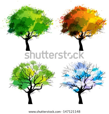 Trees of four seasons - spring, summer, autumn, winter - stock vector
