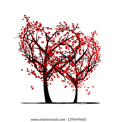 Trees of love for your design - stock vector