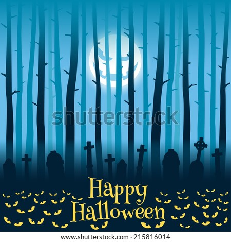 Trees on cemetery, tombs, moonlight and glowing eyes, Halloween style - stock vector