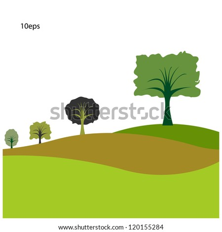 trees on curve of  grasses  with sky background,vector. - stock vector