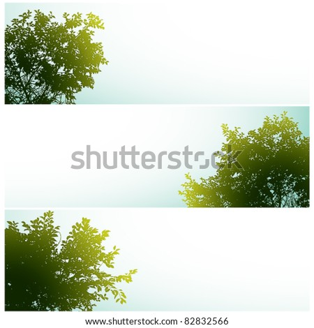Trees over clear skies, nature vector backgrounds set with empty spaces for your own design elements to add. - stock vector