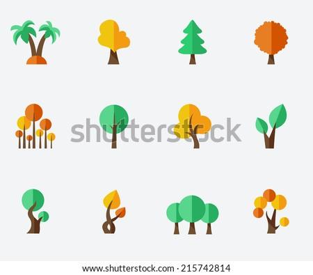 Trees set - stock vector