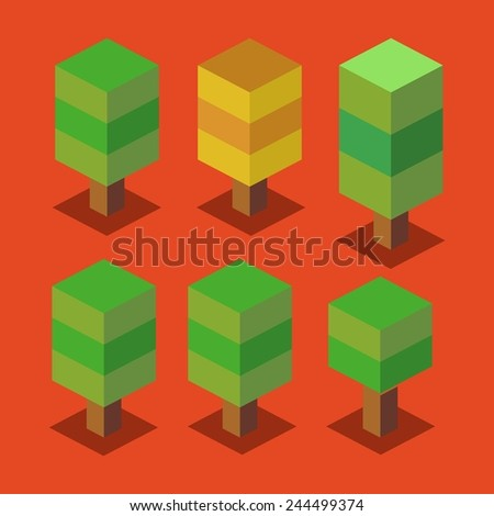 trees set. 3d pixelate isometric vector - stock vector