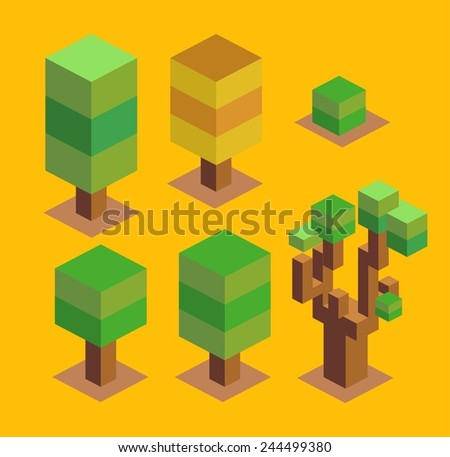 trees set. 3d pixelate isometric vector - stock vector