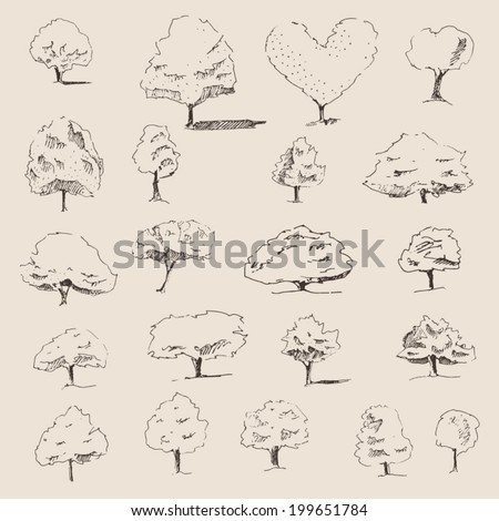 trees sketch set, vintage illustration, engraved retro style, hand drawn - stock vector