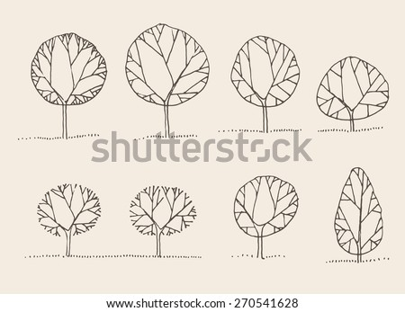 Trees sketch set, vintage vector illustration, engraved style, hand drawn - stock vector