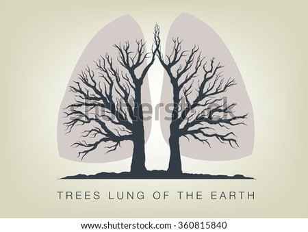 Trees - the lungs of the planet. Icon of ecology in nature - stock vector
