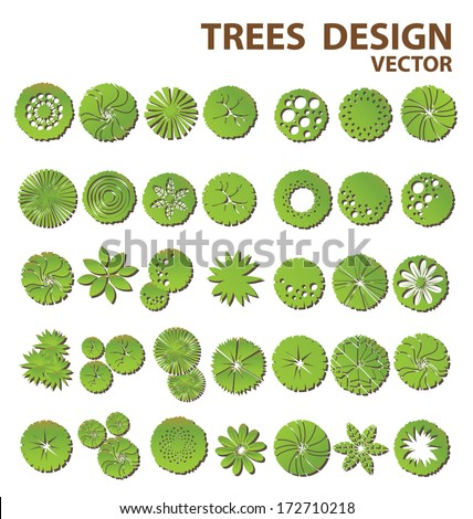 Trees top view for landscape design - stock vector