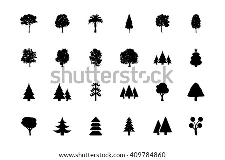 Trees Vector Icons 1 - stock vector