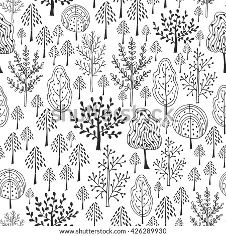 Trees vector pattern. Doodle seamless pattern with creative trees. Pattern design for textile or packaging. Adult coloring book page  - stock vector