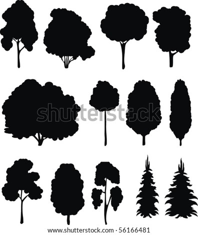 Trees. Vector silhouettes set. - stock vector