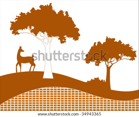 trees with deer and hillside - individual squares for color changes - stock vector