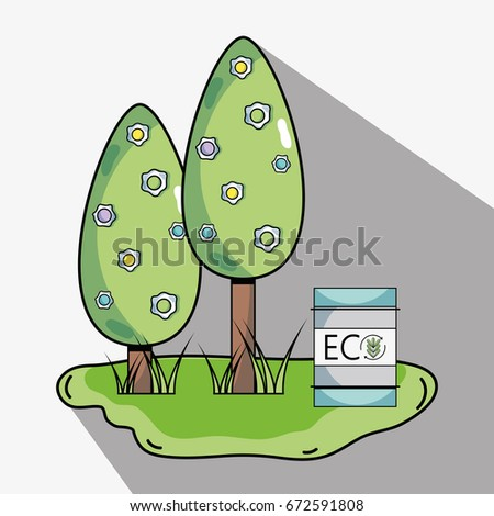 trees with ecology tank to environment protection