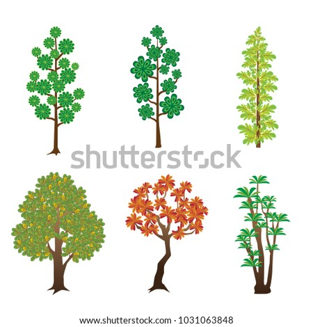 Trees with green and red leaves.