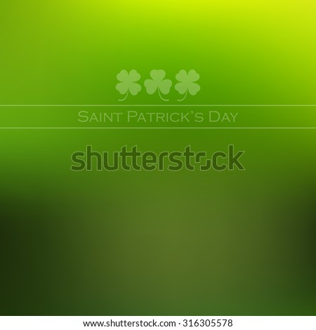 Trefoil and quatrefoil on green blurred background for St. Patricks Day. Vector illustration. - stock vector