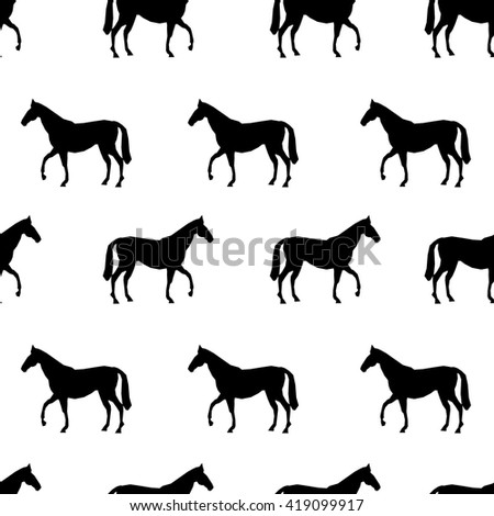 trend pattern horse vector seamless, horse silhouette wallpaper black and white
