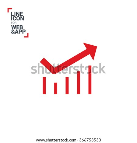 Trend up isolated minimal icon. Business graph line vector icon for websites and mobile minimalistic flat design.