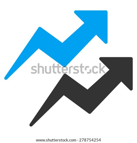 Trends icon from Business Bicolor Set. This isolated flat symbol uses modern corporation light blue and gray colors. - stock vector