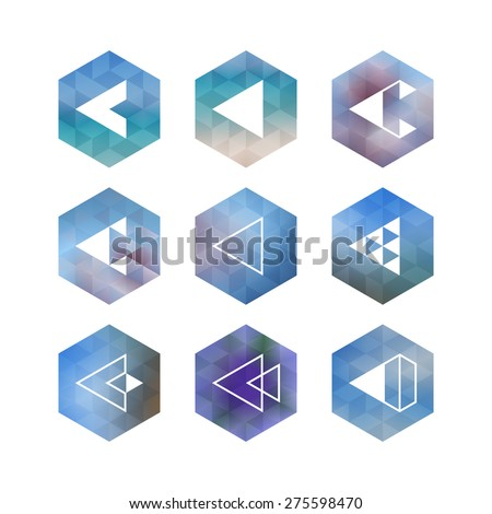 Trendy abstract arrow icons' set. Geometrical polygon, triangle shaped symbols in hipster style.  - stock vector