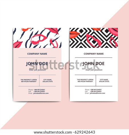Trendy Abstract Business Card Templates Modern Stock Vector Royalty - Beauty salon business cards templates free