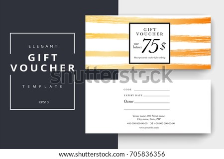 Trendy Abstract Gift Voucher Card Templates Stock Vector 705836356 ...