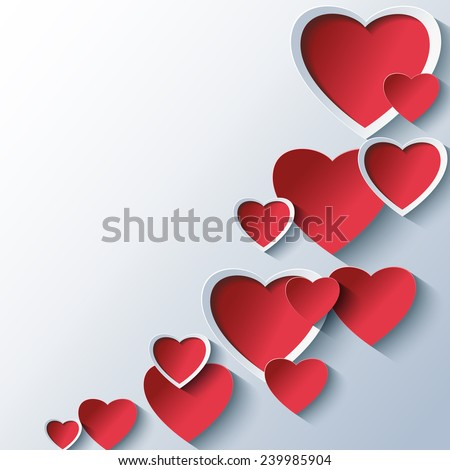 Trendy abstract Valentines day background grey with 3d stylized red hearts. Creative stylish wallpaper. Beautiful love card for Valentines day. Vector illustration. - stock vector