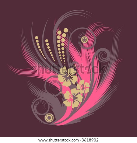 trendy abstract vector flower illustration
