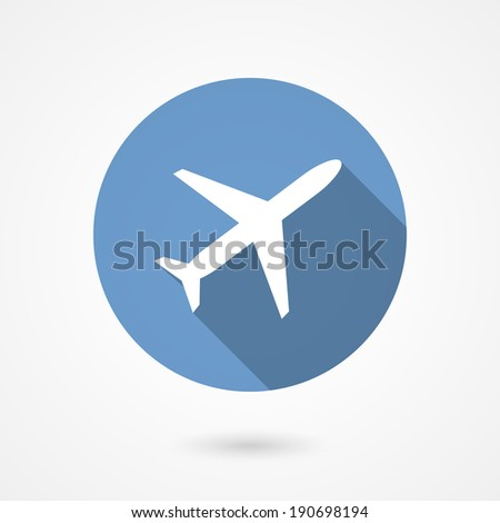 Trendy airplane icon with the white silhouette of a plane climbing on a blue circle depicting the sky with a long shadow conceptual of air travel  flat style vector illustration - stock vector