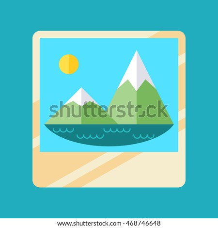 Trendy album icon with embedded picture inside, colorful vector flat illustration