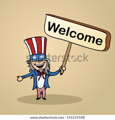 Trendy american man says welcome holding a wooden sign sketch. Vector file illustration layered for easy editing. - stock vector