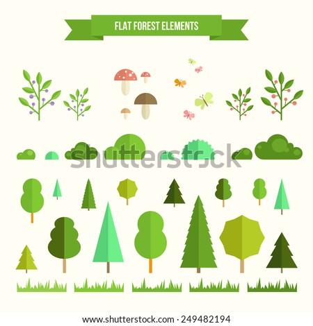 Trendy and beautiful set of flat forest elements. Include grass, mushrooms, berries, bushes and trees - stock vector