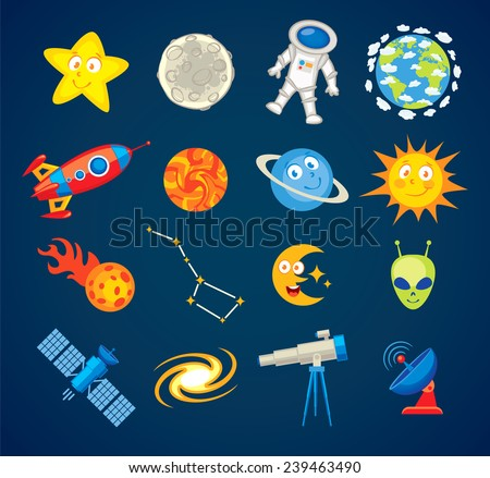 Trendy astronomy icons. Vector illustration. Funny cartoon character. Set - stock vector