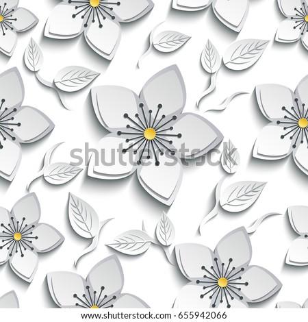 Trendy Background Seamless Pattern With Decorative White Grey 3d Sakura Blossom Japanese Cherry Tree