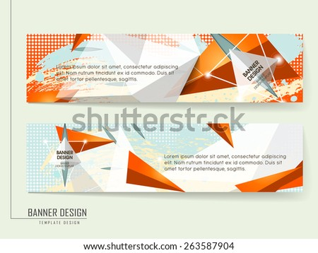 trendy banner template design with orange geometric background - stock vector