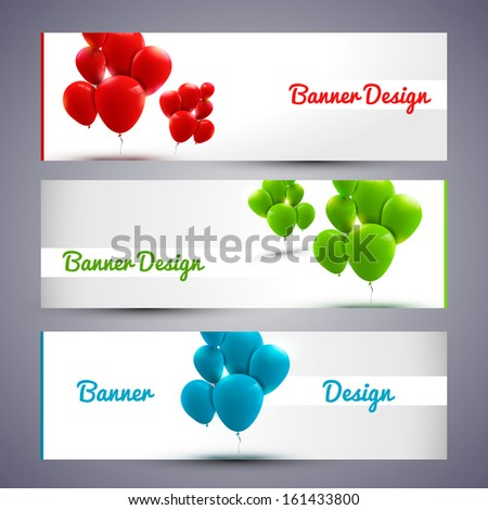 Trendy banners with baloons - stock vector