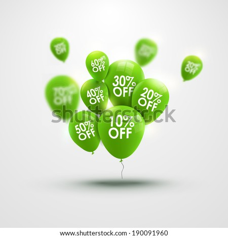 Trendy beautiful background with green baloons and discounts - stock vector