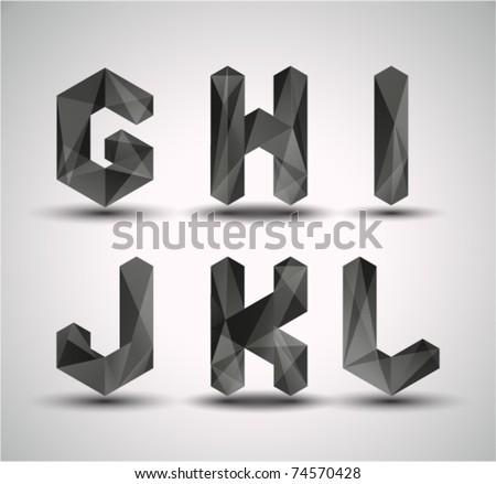 Trendy Black Fractal Geometric Alphabet. GHIJKL, Vector Illustration. - stock vector