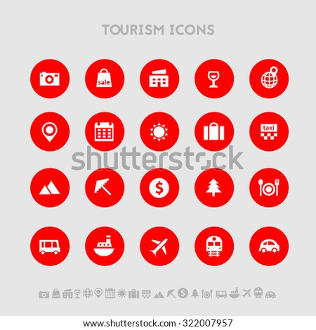 Trendy bright flat design tourism icons