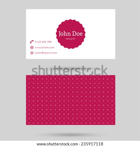 Trendy business card template with vintage label and elegant seamless pattern. Minimalism design. red.  - stock vector