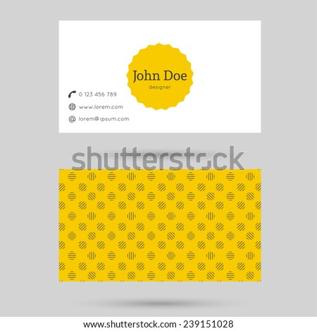 Trendy business card template with vintage label and elegant seamless pattern. Minimalism design. yellow  - stock vector