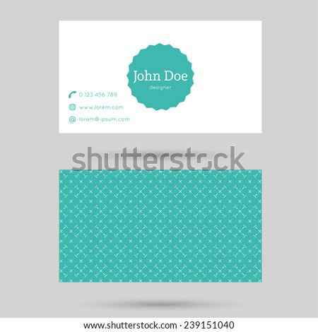 Trendy business card template with vintage label and elegant seamless pattern. Minimalism design. green - stock vector