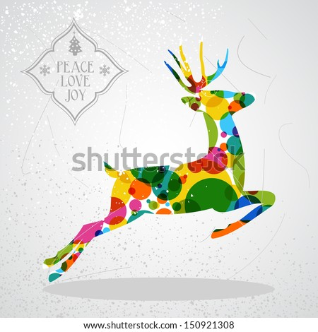 Trendy Christmas colorful reindeer transparent geometric elements grunge background. EPS10 vector with transparency organized in layers for easy editing. - stock vector
