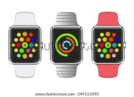 Trendy Colorful Vector Illustration Icon of Aluminium Smart Watch with Smartwatch Interface - stock vector