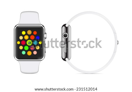 Trendy Colorful Vector Illustration Icon of White Aluminium Smart Watch with Smartwatch Interface - stock vector