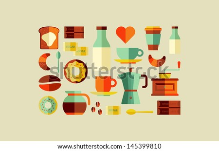 Trendy colors coffee shop elements flat icon set. Vector file layered for easy manipulation and custom coloring. - stock vector