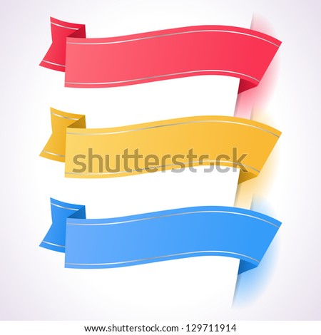 Trendy colors ribbon tags. EPS 10 - stock vector