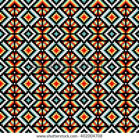 Trendy, contemporary ethnic seamless pattern, embroidery cross, squares, diamonds, chevrons.
