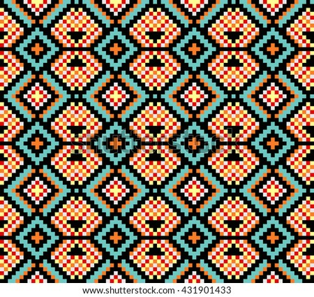Trendy, contemporary ethnic seamless pattern, embroidery cross, squares, diamonds, chevrons, stylized snake skin